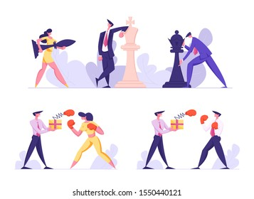 Business Strategy and Unfair Fighting Set. Businesspeople Playing Huge Chess. Businessman and Businesswoman Boxing Fight. Competition and Challenge in Office Work. Cartoon Flat Vector Illustration