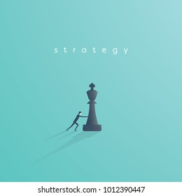 Business strategy vector concept with businessman playing chess. Symbol of vision, competition, negotiation, planning and challenge. Eps10 vector illustration.