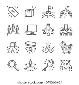 Business strategy vector line icon set. Included the icons as strategy, competitor, product, price and more.