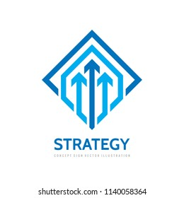 Business strategy vector logo template concept illustration. Three arrows creative sign. Progress development icon symbol. Geometric design element.