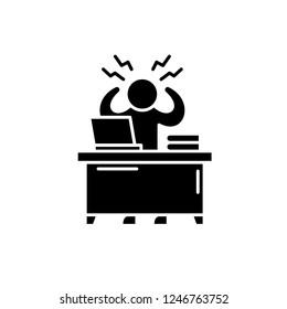 Business stress black icon, vector sign on isolated background. Business stress concept symbol, illustration