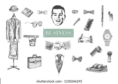 Business stuff and accessories hand drawn set. Suit, briefcase, cufflinks, pouch, tie, ring, sunglasses, bow-tie, fountain pen, wristwatch, smartphone, brogues, cigars,  fedora hat. Happy male face