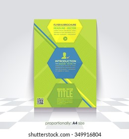 Business Style A4 Flyer and Brochure. Catalog Cover Template, Corporate Leaflet Design, Geometric Background