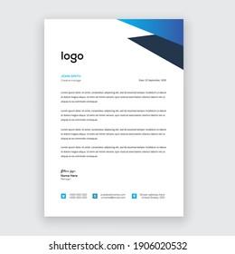 Business style blue letterhead template design