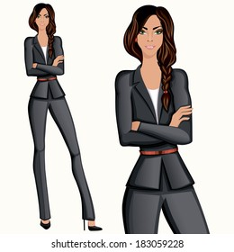 Business style confident attractive professional standing businesswoman vector illustration