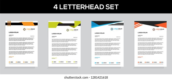 Business style Elegant 4 Letterhead templates Set for your project, Vector illustration.