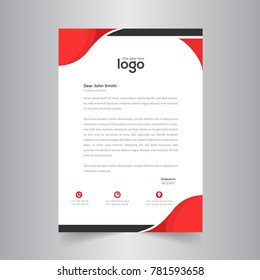 Business style red color letter head templates for your project design, Vector illustration.