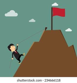 business success achievement concept. hard work, cartoon businessman climbing to the goal on the mountain. Vector illustration