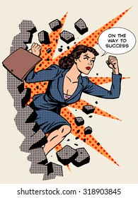 Business success, businesswoman breaks the wall. Retro style pop art