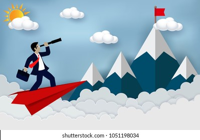 Business Success concept. Businessman standing on a plane paper looking with the telescope growth modern ideas And to achieve higher. Cartoon, illustration of sky with cloud and mountain. Vector