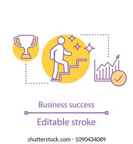 Business success concept icon. Climbing career ladder. Win idea thin line illustration. Goal achieving. Vector isolated outline drawing. Editable stroke