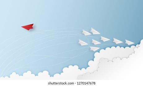 Business success design of Paper airplane Leaders find a way out as resolve problem , creative idea and communication concept. vector illustration