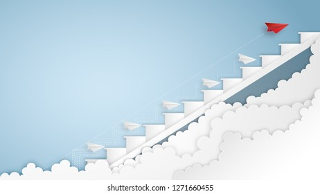 Business success design of Paper airplane Leaders find a solution ways and staircase as creative idea and communication concept. vector illustration
