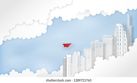 Business success design of Paper airplane Leaders with building skyline on blue sky and clouds as mission , startup , creative idea and communication concept. vector illustration