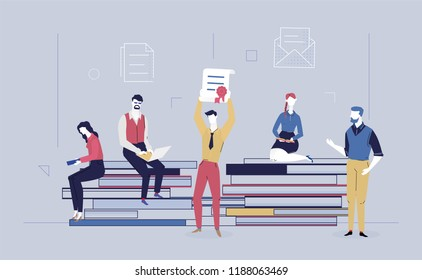 Business success - flat design style colorful illustration on gray background. High quality composition with office workers, business people holding a diploma, getting a certificate, sitting on books