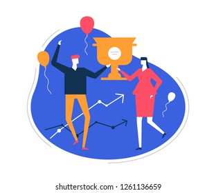 Business success - flat design style colorful illustration on white background. Unusual composition with man and woman, employees holding a champion cup, prize, celebrating victory. Images of balloons