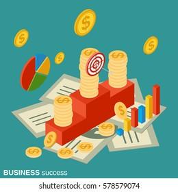 Business success flat isometric vector concept illustration