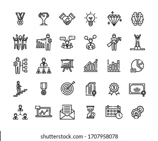 Business success icons set. Icons for business, management, finance, strategy, planning, analytics, banking, communication, social network, affiliate marketing. Created on pixel grid 64 x 64 pixel.