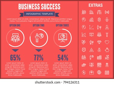 Business success infographic template, elements and icons. Infograph includes customizable graphs, options, line icon set with business worker, successful businessman, corporate leader, conference etc