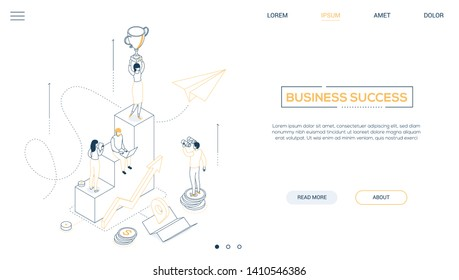 Business success - line design style isometric web banner on white background with copy space for text. A header with businesswoman standing on the top of staircase, holding a cup. Victory concept