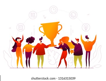 Business success - modern flat design style web banner on white background. High quality composition with cute male, female colleagues holding a big cup, prize, celebrating victory. Winning concept