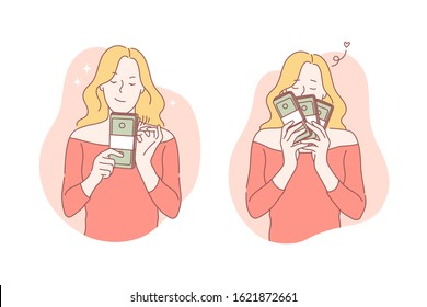 Business, success, moneymaker, profit set concept. Young successful businesswoman made good deal and enjoys big profit. Young girl is real moneymaker and knows a lot about business. Simple flat vector
