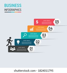 business success staircase walking infographics. 5 step businessman going success. Can be used for workflow layout, diagram, options, web design. vector illustration in flat style modern design.