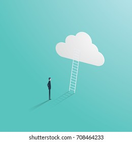 Business success vector concept with businessman standing in front of ladder leading up to the cloud. Symbol of career opportunity, corporate ladder and growth. Eps10 vector illustration.