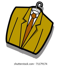 Business suit or coat and tie on a hanger as if hanging in a dry cleaner.