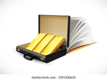 Business suitcase full of gold bar - briefcase concept - knowledge as the way to fortune