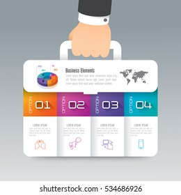 Business suitcase infographic design vector and marketing icons can be used for workflow layout, diagram, annual report, web design. Business concept with 4 options, steps or processes.