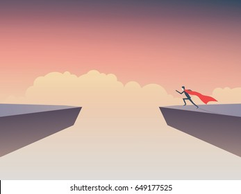 Business superhero businessman running to jump over gap between two cliffs. Eps10 vector illustration.
