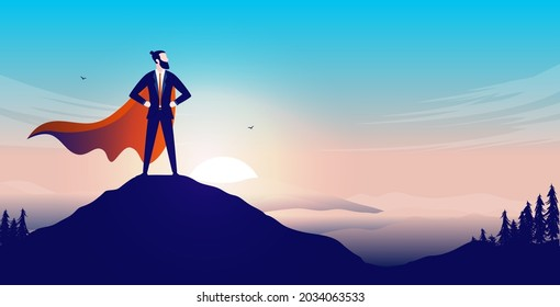 Business superhero on mountaintop - Businessman with cape standing proud on top after great accomplishment. Vector illustration.