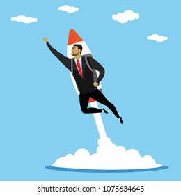 Business superhero with rocket, successful businessman takes off with jet pack, stock vector illustration