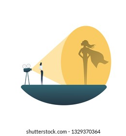 Business superhero vector concept with businesswoman projecting superhero shadow on wall. Symbol of motivation, ambition, emancipation, feminism, confidence, power and success.