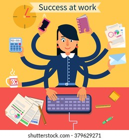 Business Superwoman Banner. Woman with Many Hands Doing a Lot of Things at work. Vector illustration