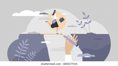 Business support and assistance to overcome problems tiny persons concept. Partnership hand help to get over crisis or potential bankruptcy with loan, grant or solution advice vector illustration.