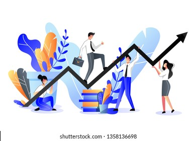 Business support and partnership concept. Vector trendy flat illustration. Businessman with briefcase climbs on the growth graph holding by team.