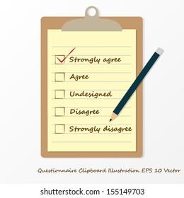 business survey questionaire on clipboard