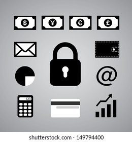 business symbol on gray background