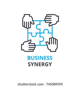 Business synergy concept , outline icon, linear sign, thin line pictogram, logo, flat vector, illustration