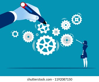 Business system. Leader build a business system with gear, Concept business teamwork vector illustration, Flat character cartoon design.