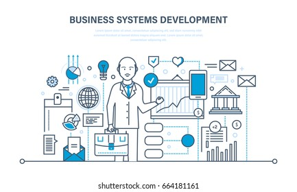 Business systems development, analysis and research, marketing, planning, investment growth, strategy. Illustration thin line design of vector doodles
