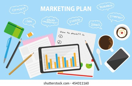 Business table with marketing ideas