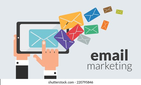 Business tablet computer with email marketing. Vector concept for online advertising