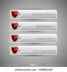 Business tabs with valentines hearts. Vector design elements for infographics.