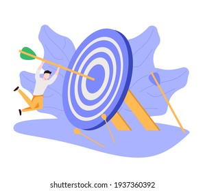 Business target achievement or success and reaching for target and goal concept, businessman leader holding dart running from rising graph arrow and jump to bullseye target to win in business strategy