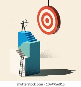 Business Target - Aim High. A person climbing up to a high point to reach a target. Conceptual vector illustration.