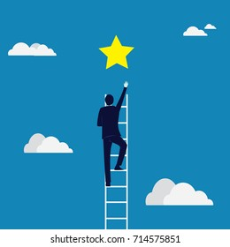 Business Target Concept. Climbing Ladder Reaching Star
