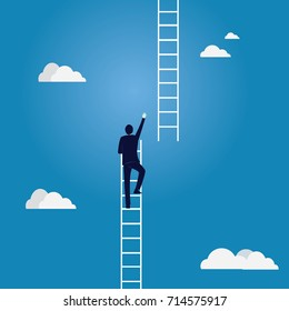 Business Target Concept. Climbing Ladder To The Sky